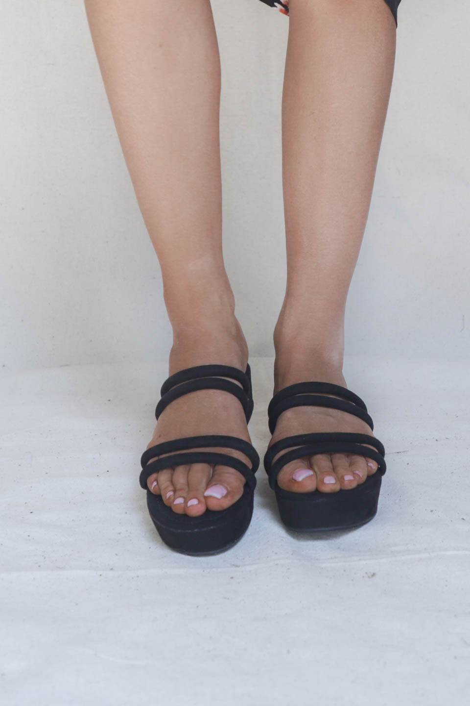 All Me Black Platform Strappy Slides