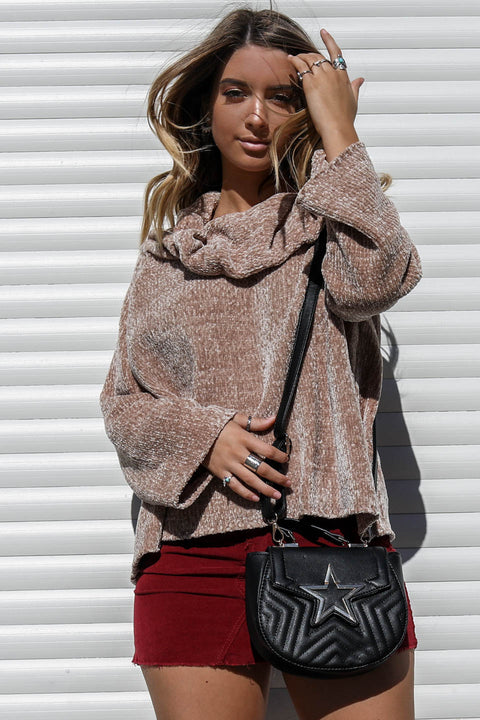 Loving You Chenille Taupe Knit Sweater - Amazing Lace
