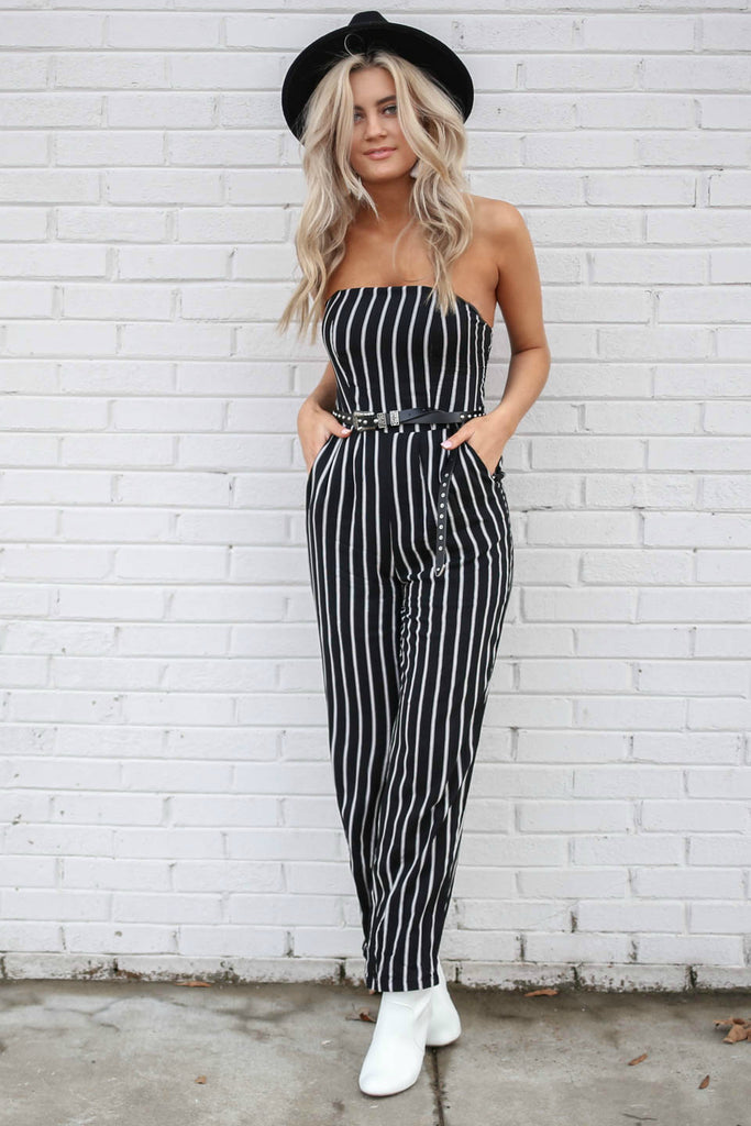 Quality Time Black & White Striped Jumper