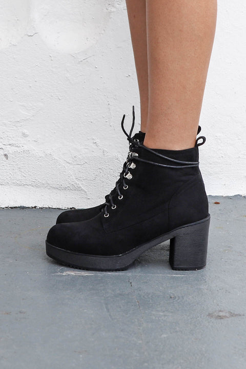 Be Good Faux Suede Black Combat Heel Boot