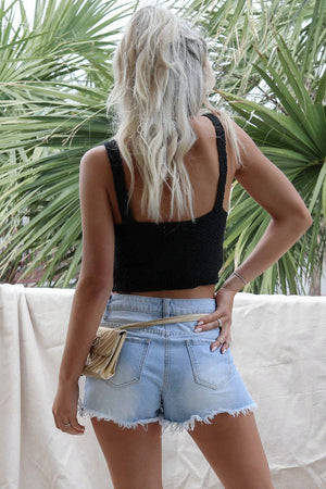 Sweet Day Black Knit Crop Top