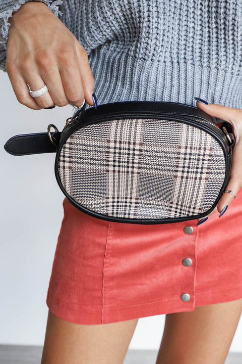 First Look Black Plaid Faux Leather Crossbody Belt Bag