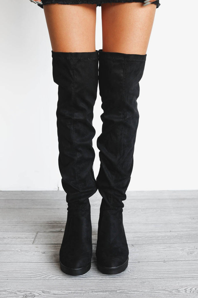 b63c8e8e8ac Shopping spree black wedge suede knee high boots amazing lace jpg 683x1024  Black wedge thigh high