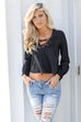 I Know You Black Lace Up Top - Amazing Lace