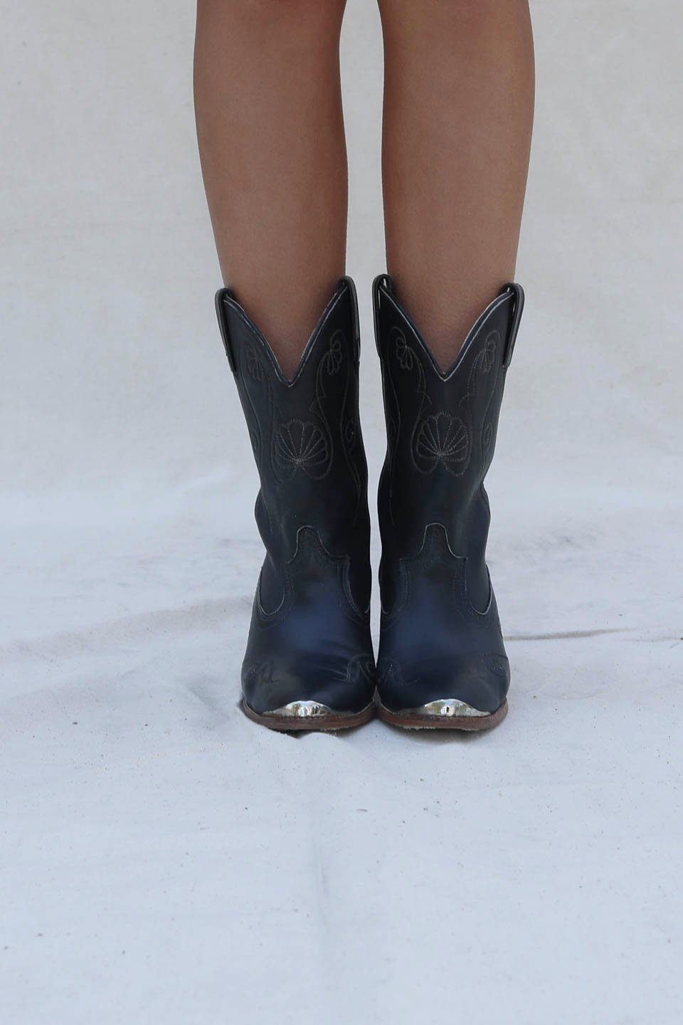 VINTAGE Black Steel Toe Western Boot