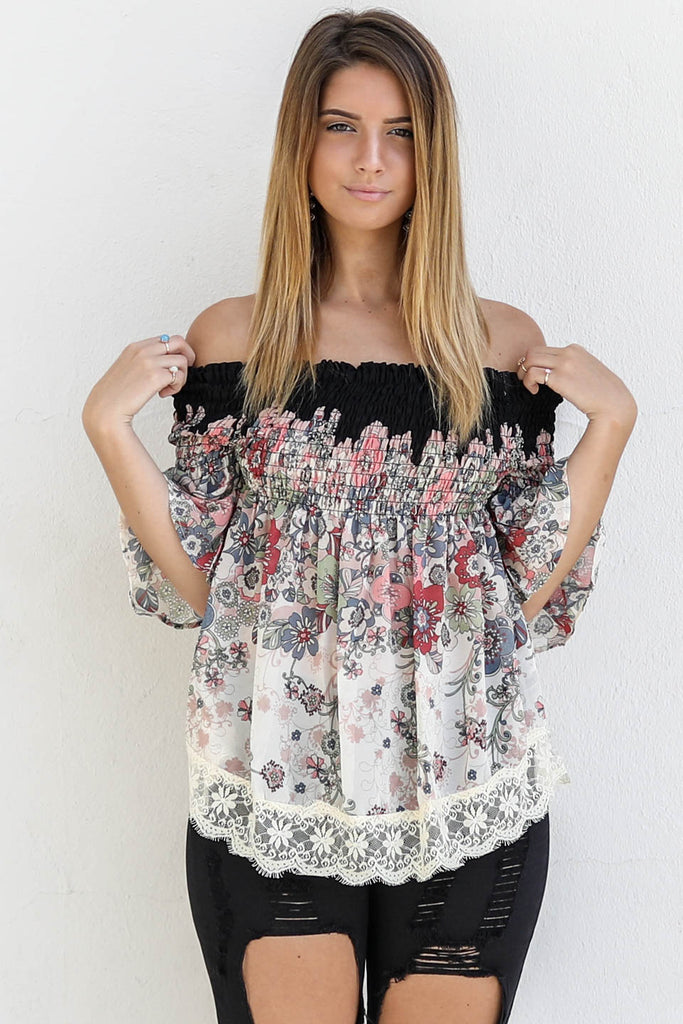 Over The Castle Beige Off The Shoulder Top - Amazing Lace