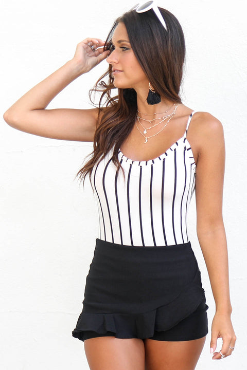Count On It Striped White Bodysuit