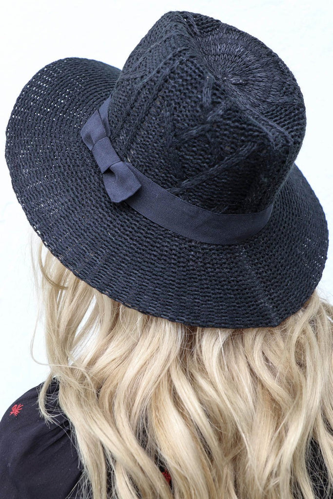 Tall Tale Black Wool Knit Hat with Bow