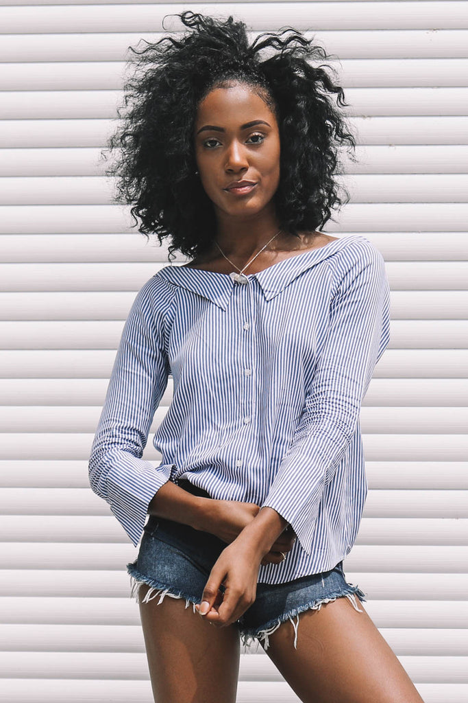 Totally Sophisticated Blue Button Up Blouse - Amazing Lace