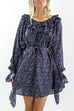 Staying In Paris Deep Blue Floral Print Dress - Amazing Lace