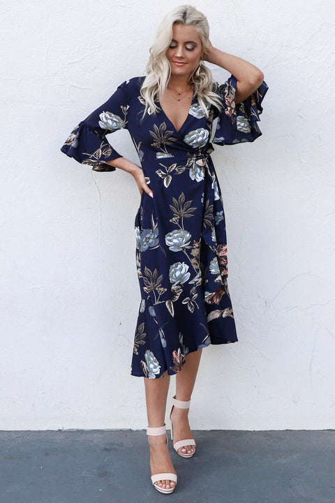 One Breath Navy Floral Midi Wrap Dress