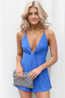 Owning It Blue Plunging Neck Romper