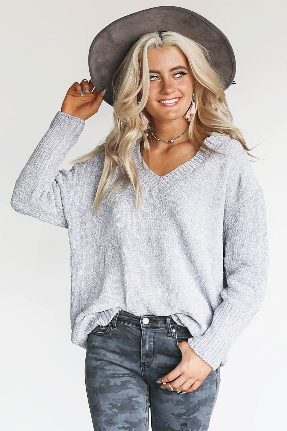 The Routine Silver Chenille Sweater