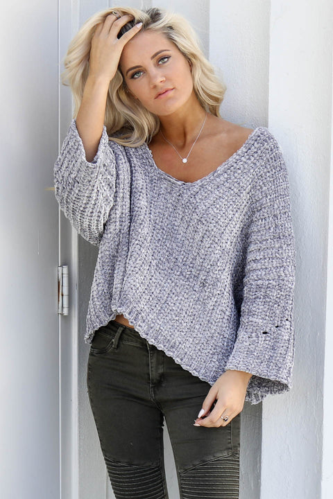 Soft Side Gray Blue Chenille Pullover Sweater - Amazing Lace