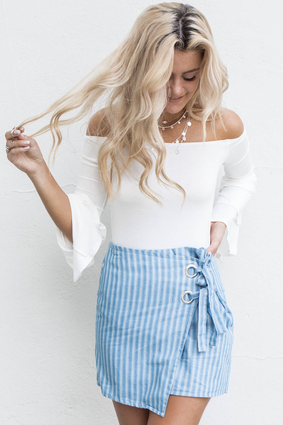 The Feels Denim & White Striped Skort