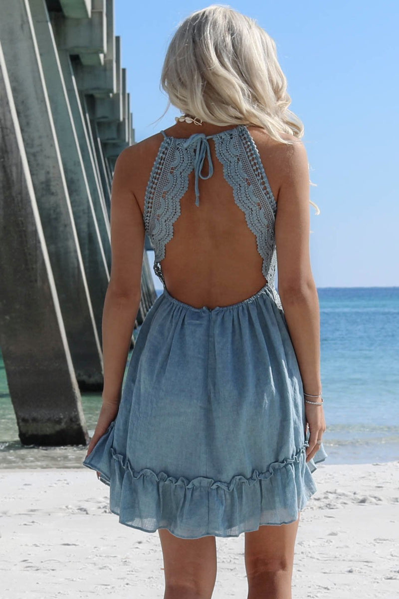Unreal Sage Crochet Open Back Halter Dress