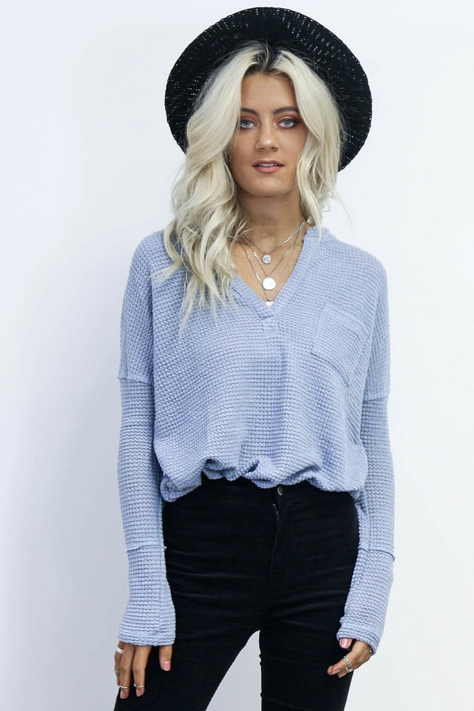 Night Tunes Light Blue Waffle Knit Top