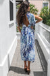 On Rodeo Blue Snake Kimono Maxi Dress