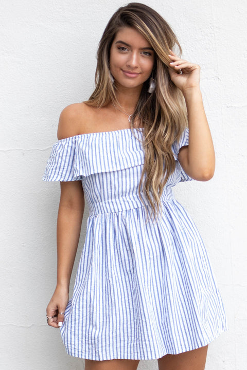 Just Say When Off The Shoulder Blue Striped Dress