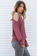 Stars Align Red Thermal Cold Shoulder Top - Amazing Lace