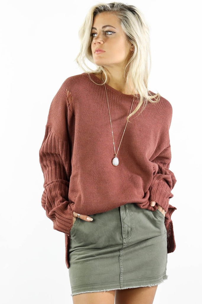 Out Too Late Red Distressed Hooded Sweater - Amazing Lace