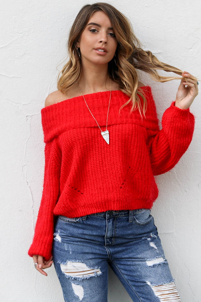 Follow Me Red Sweater - Amazing Lace