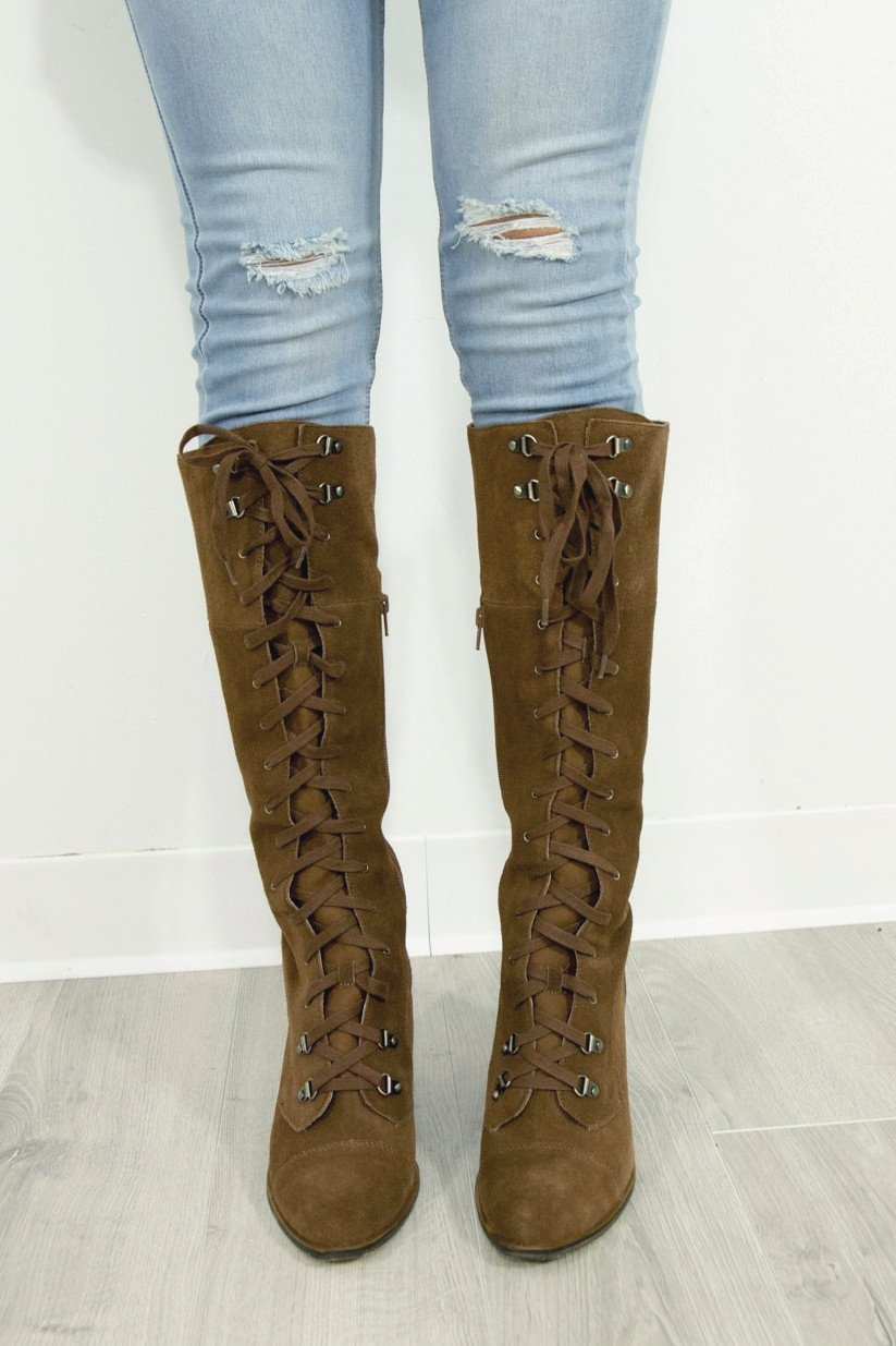 CHINESE LAUNDRY Keepsake Brownstone Split Suede Lace Up Boots - Amazing Lace