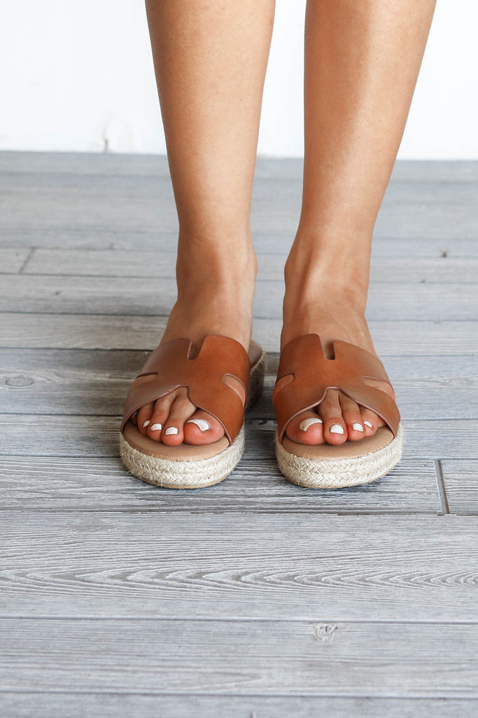 Happy Life Brown Slide Sandals