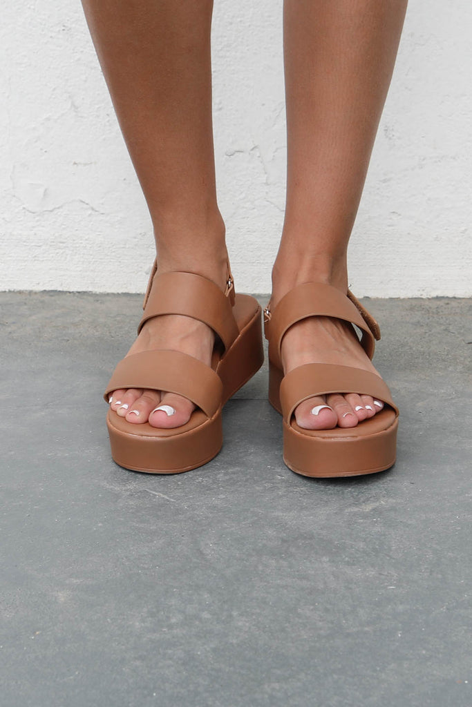 Young Heart Tan Platform Sandals