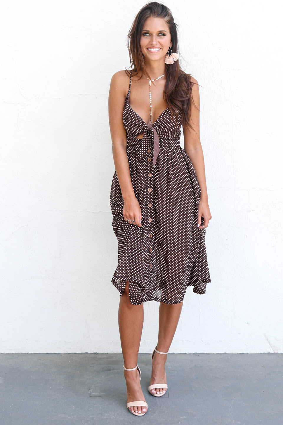 Real Smile Front Tie Polka Dot Midi Dress