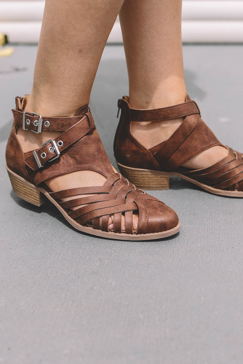 Small Town Cognac Side Buckle Heels - Amazing Lace