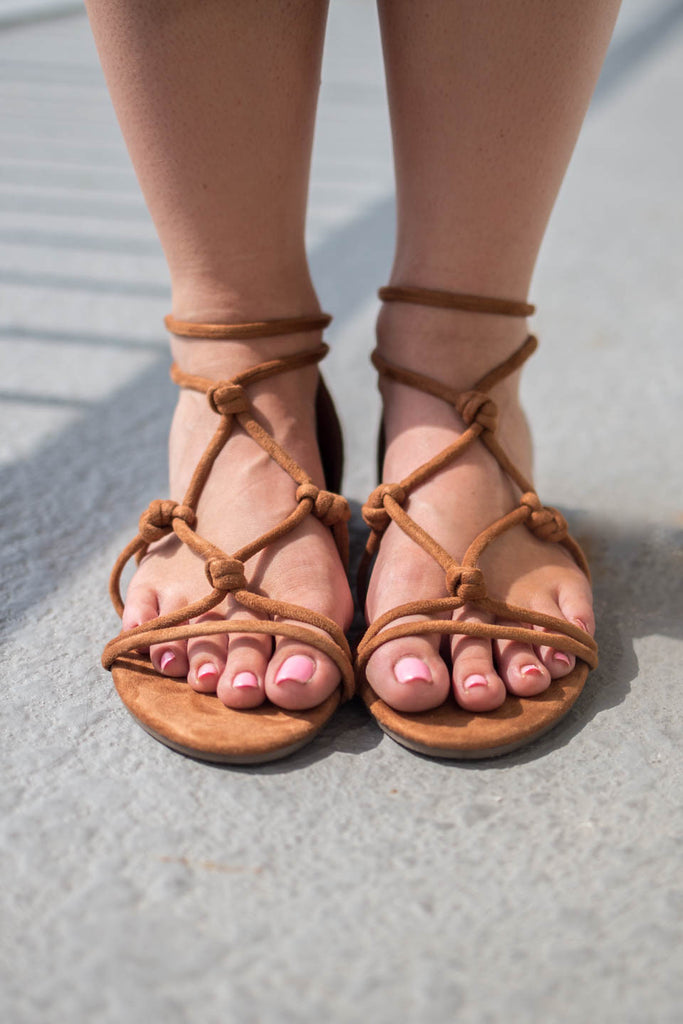 Casual Charm Tan Sandals - Amazing Lace