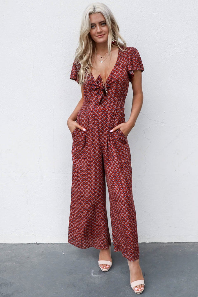 Still Sure Brick Boho Front Tie Jumpsuit