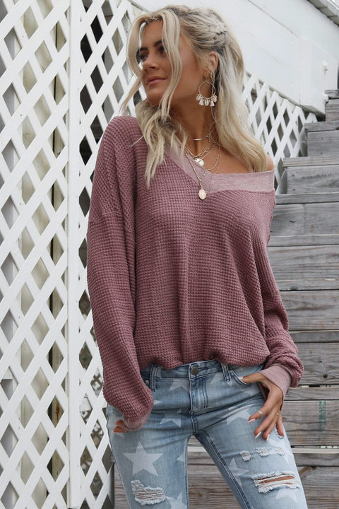 Before Us Light Maroon Waffle Knit Top