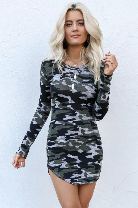 Misbehave Long Sleeve Camo Dress