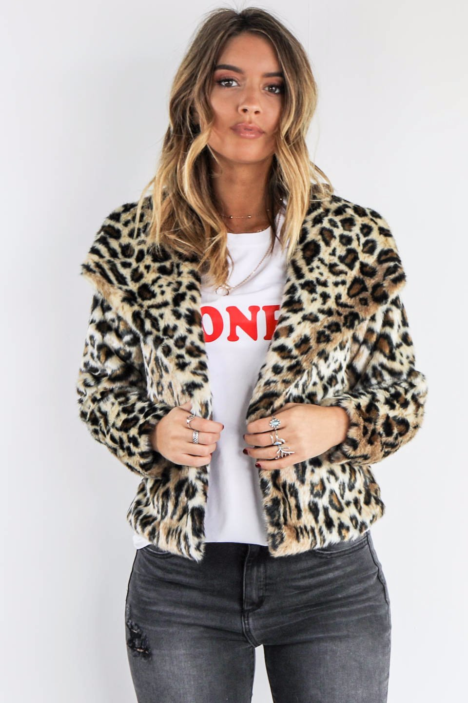 Chaser Cat Walk Cheetah Print Faux Fur Jacket - Amazing Lace
