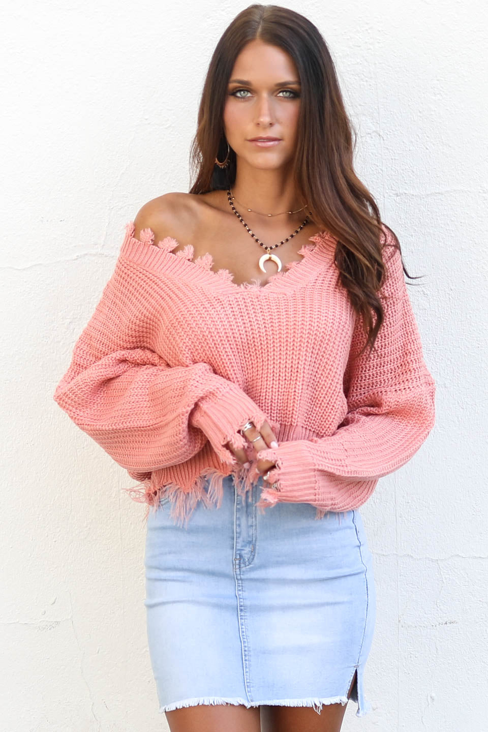 About Time Shredded Pink V-Neck Sweater