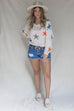 Dizzy For You Multicolor Star Knit Pullover