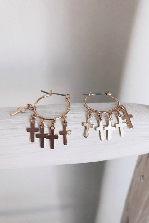 Never Mind Mini Gold Cross Hoop Earring