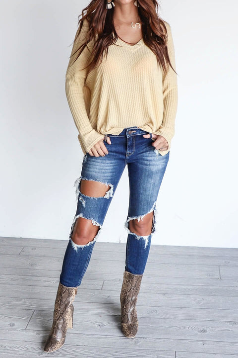 One Wish Dark Blue Mid Rise Distressed Denim