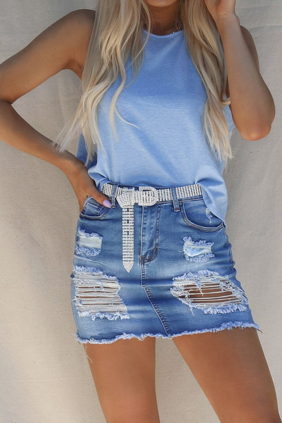 Late Date Medium Wash Distressed Denim Skirt