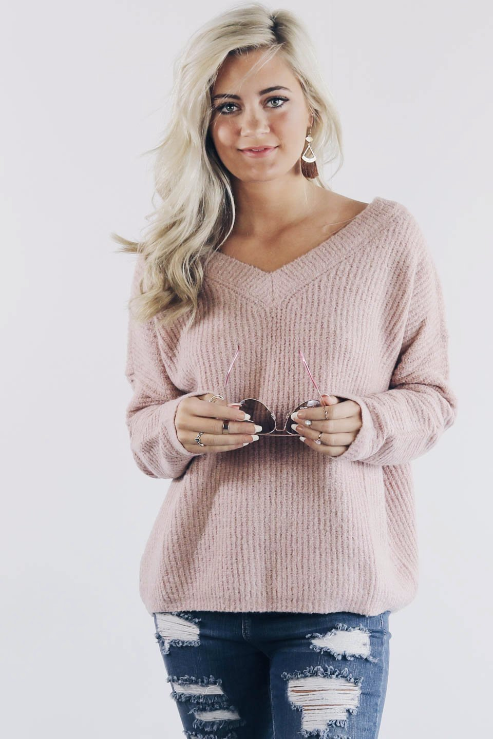 Sweet Dreams Powder Pink Open Back Sweater - Amazing Lace