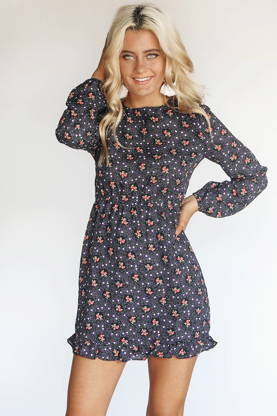 More Adventures Black Long Sleeve Floral Dress