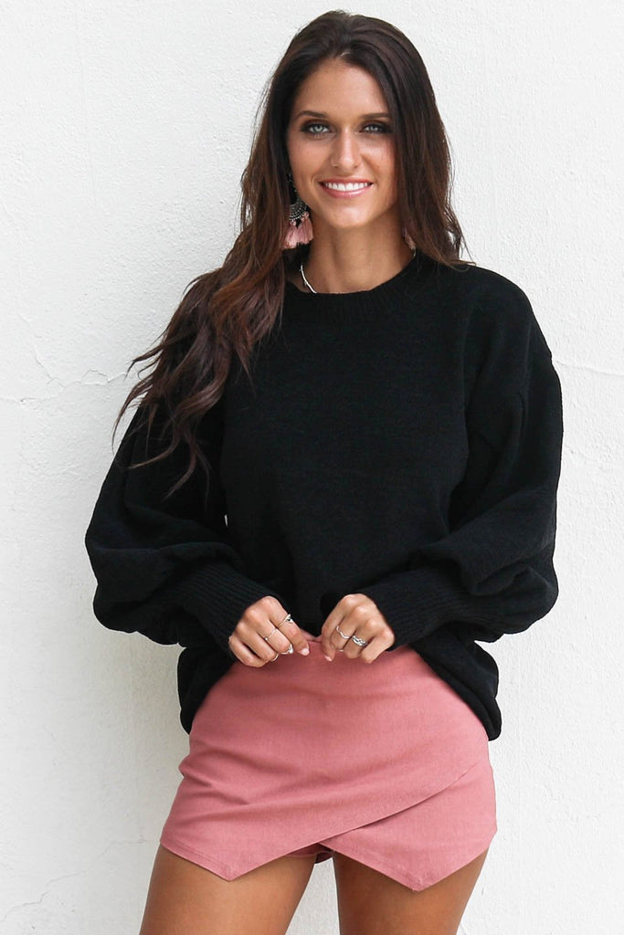 Turn Around Black Chenille Bubble Sleeve Sweater