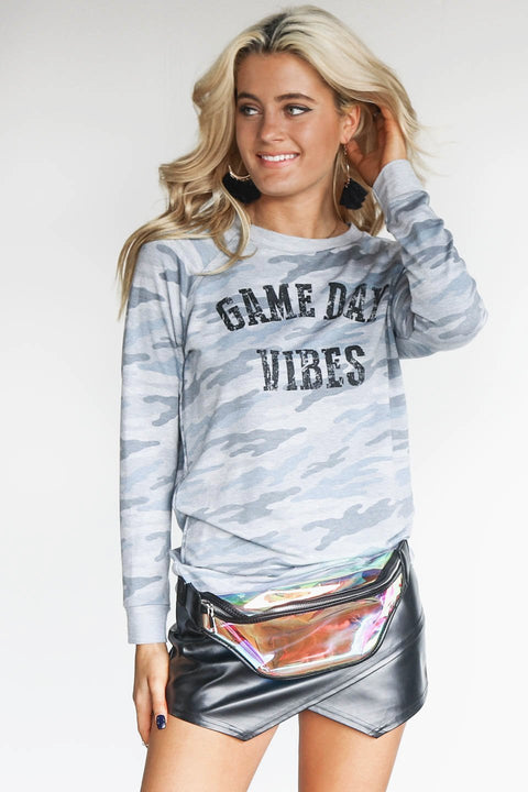 Blue Camo Game Day Vibes Sweatshirt
