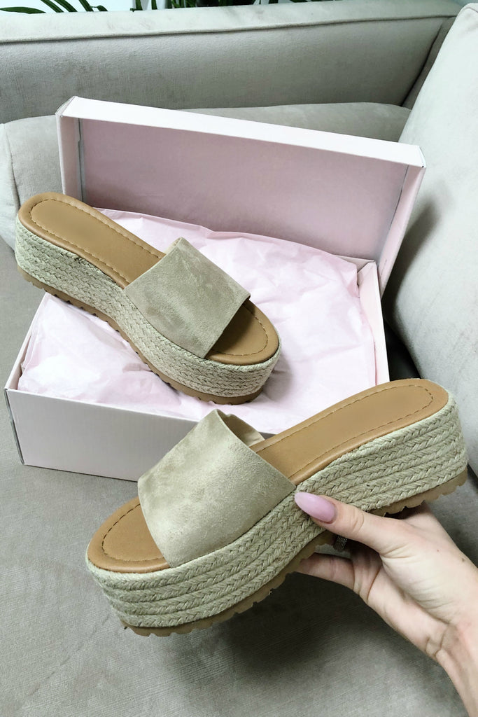 Beach House Natural Platform Espadrille Slides