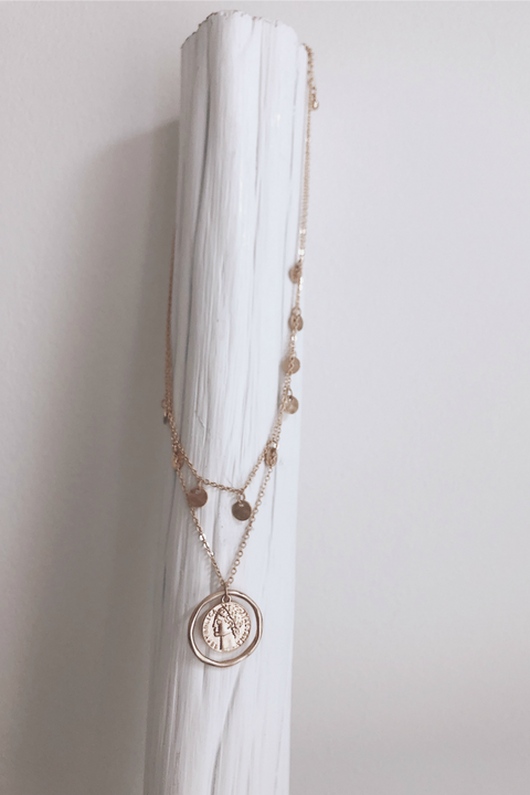 Fade In Gold Layered Coin Necklace