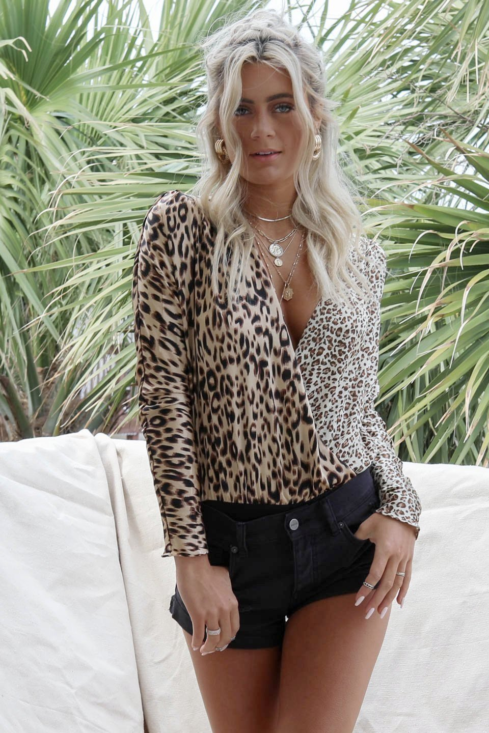 All Here Leopard Plunging Wrap Bodysuit