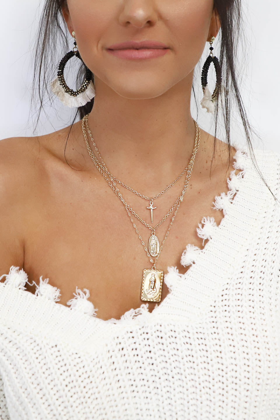 Choose Love Layered Gold Rosary Necklace