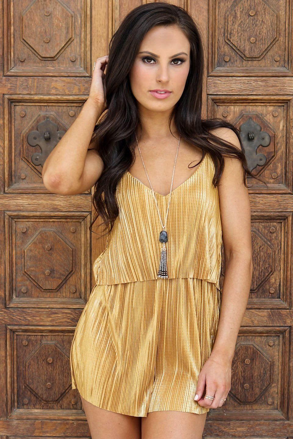 Champagne All Day Gold Pleated Romper - Amazing Lace